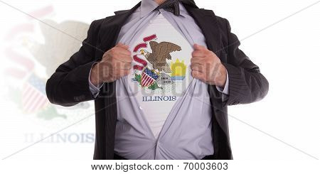 Businessman With Illinois Flag T-shirt