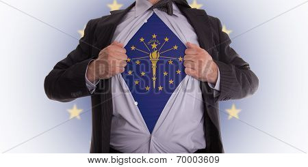 Businessman With Indiana Flag T-shirt