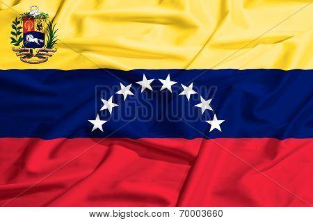 Venezuela Flag On A Silk Drape Waving