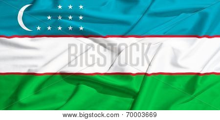 Uzbekistan Flag On A Silk Drape Waving