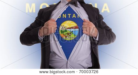 Businessan With Montana Flag T-shirt