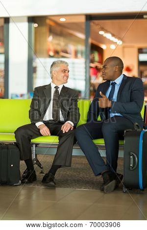 smart businessmen sitting at airport