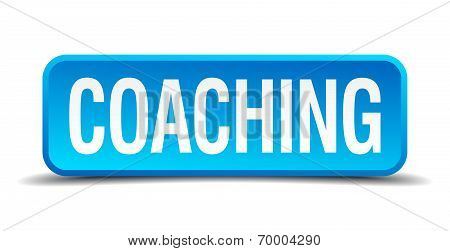 Coaching Blue 3D Realistic Square Isolated Button