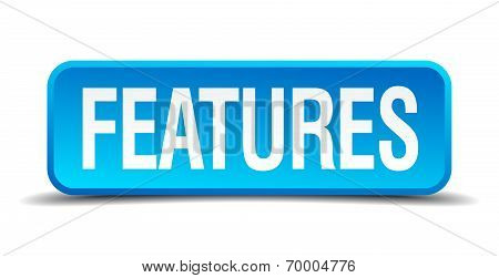 Features Blue 3D Realistic Square Isolated Button
