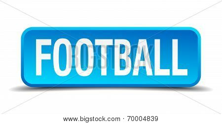Football Blue 3D Realistic Square Isolated Button
