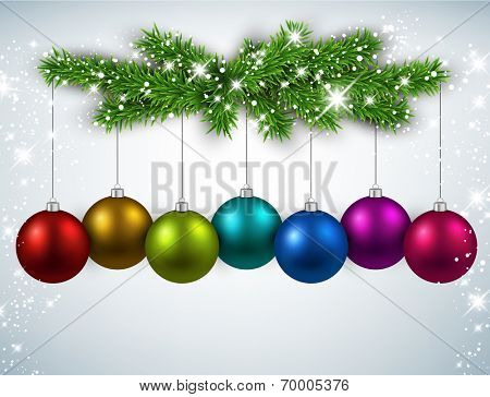 Silver abstract texture with fir twigs and colorful balls. Vector background.