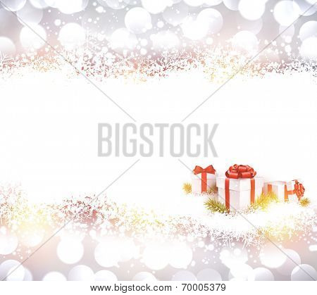 Silver defocused christmas background with realistic gifts. Bright bokeh. Vector illustration.