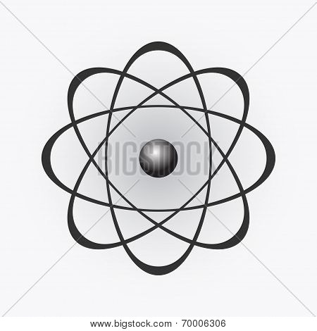 Abstract Model Of The Atom On Light Gradient Background