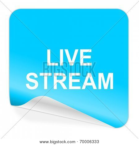 live stream blue sticker icon