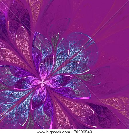 Beautiful Fractal Flower In Blue And Violet. Computer Generated Graphics.