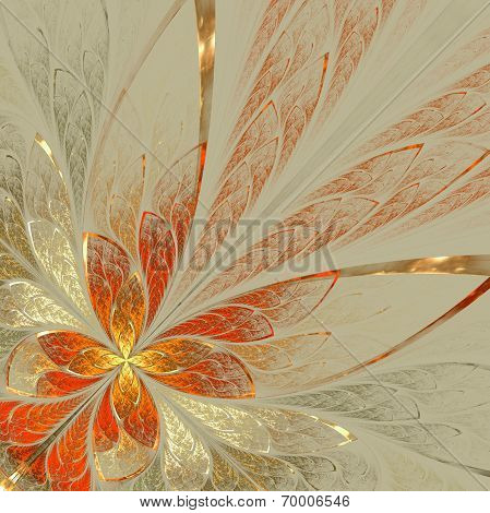 Beautiful Fractal Flower In Yellow, Gray And Red. Computer Generated Graphics.