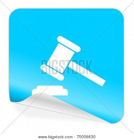 auction blue sticker icon