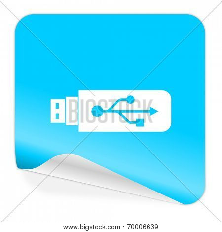 usb blue sticker icon