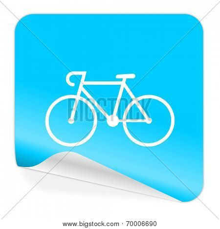 bicycle blue sticker icon