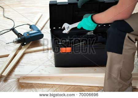 Man Looking For A Tools