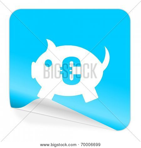 piggy bank blue sticker icon