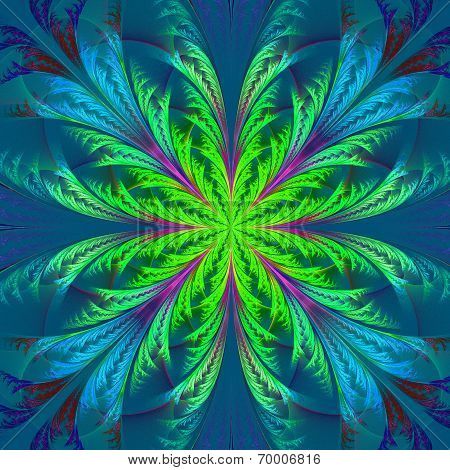 Beautiful Multicolor Fractal Flower. Collection - Frosty Pattern. Computer Generated Graphics.