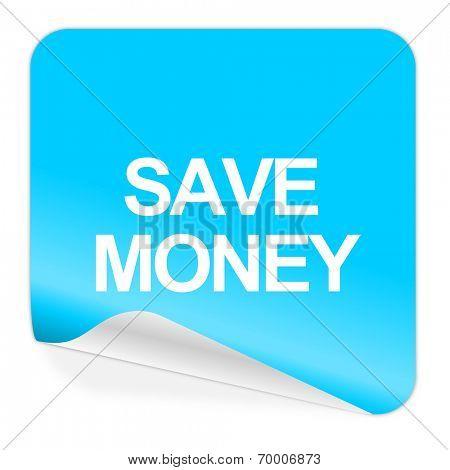 save money blue sticker icon