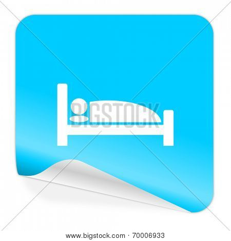 hotel blue sticker icon