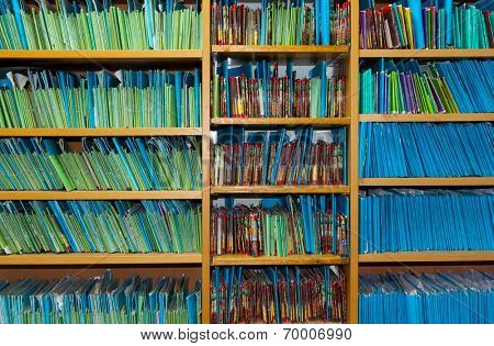 Paper files in the medical clinic