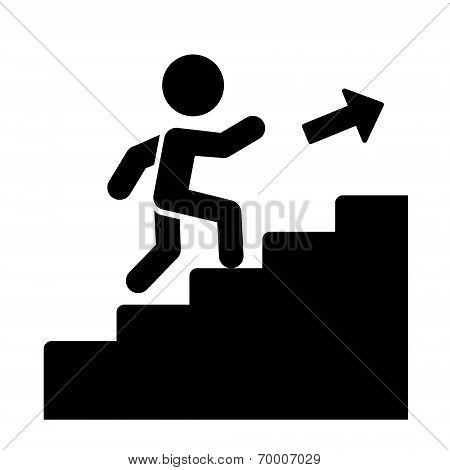 Man on Stairs Going Up Icon. Vector