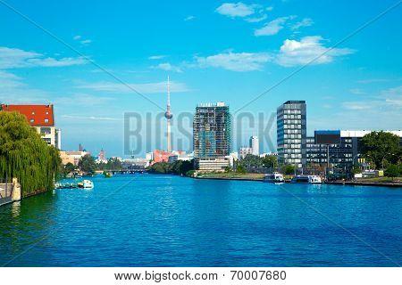 Berlin With River Spree And Oberbaumbruecke (oberbaum Bridge)