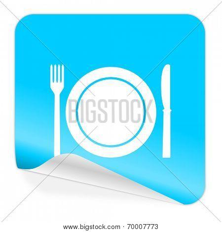 restaurant blue sticker icon