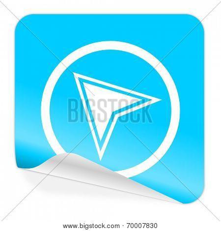 navigation blue sticker icon