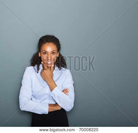 Friendly Young Business Woman Thinking