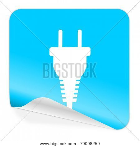 plug blue sticker icon