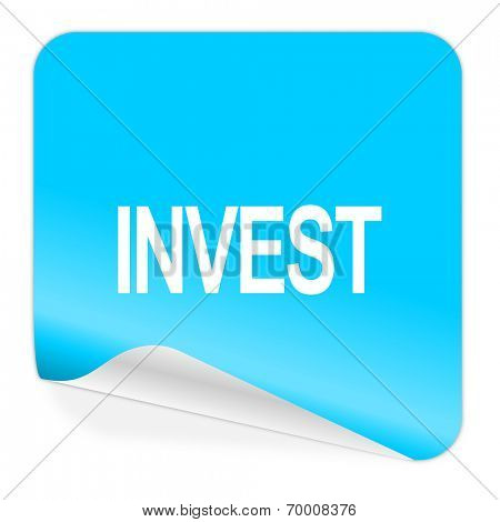 invest blue sticker icon