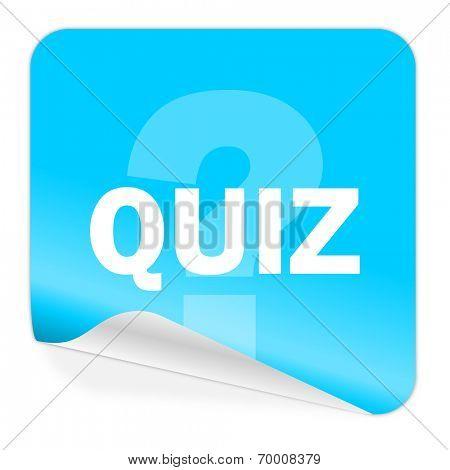 quiz blue sticker icon