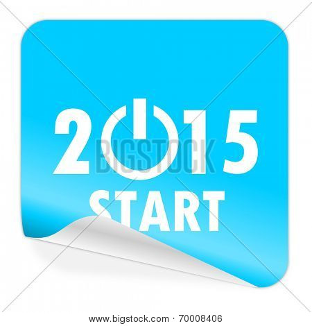 new year 2015 blue sticker icon