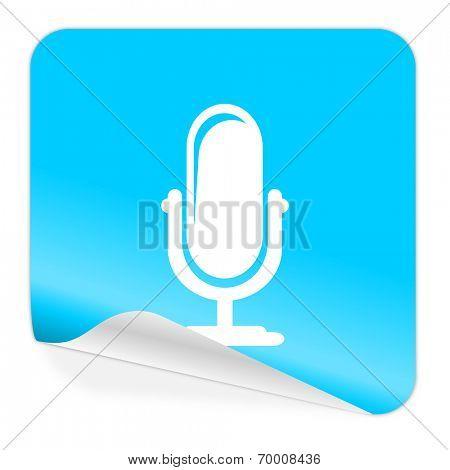 microphone blue sticker icon