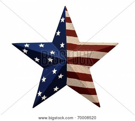 Ornament with stars and stripes isolated over white background - With clipping path