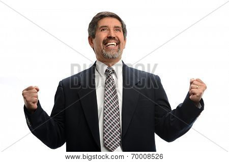 Hispanic businessman celebrating isolated over white background