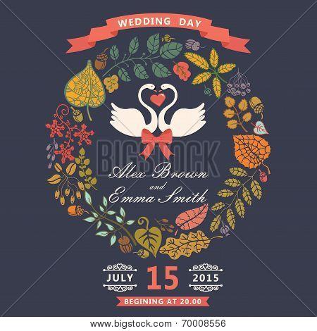 Wedding Invitation With Swans,autumn Leaves Wreath