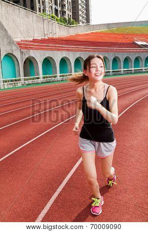 Chinese Woman Jogging, Motion Blur