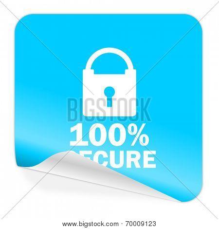 secure blue sticker icon