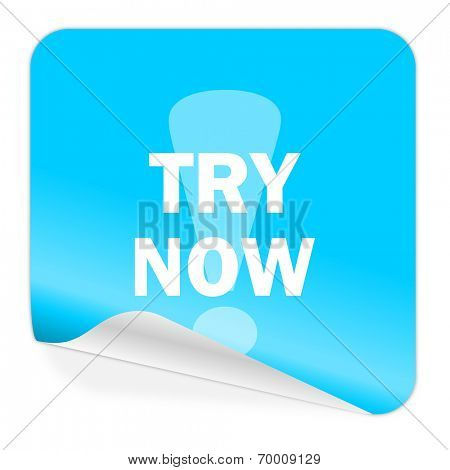 try now blue sticker icon