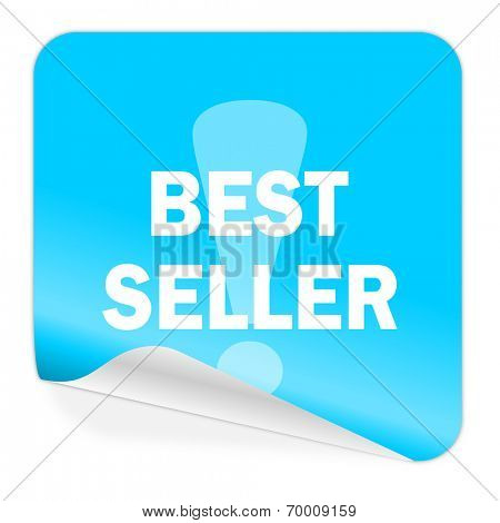 best seller blue sticker icon