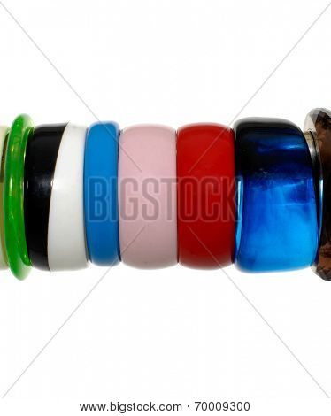 Close up stack fashion bangles on hangers