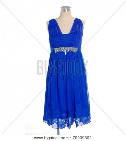 female blue sundress on mannequin
