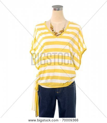 Woman clothes on mannequin isolated