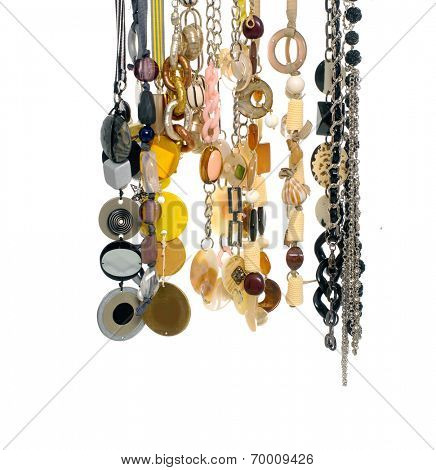 Display of Fashion female necklace and belts