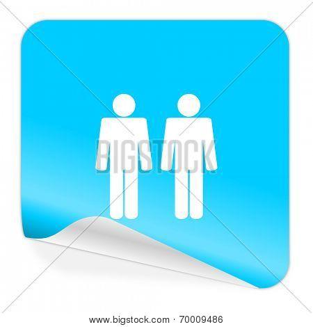couple blue sticker icon