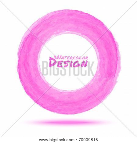 Hand drawn watercolor light pink circle
