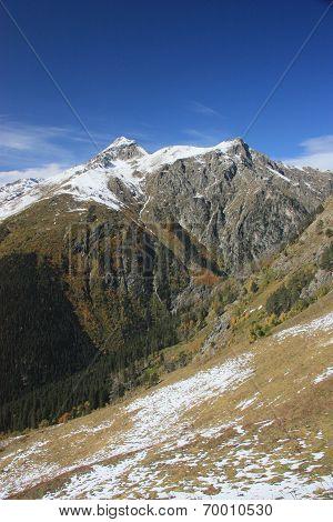 The Mountain Autumn With Snow