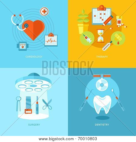 Vector medical and health icons set for web design, mobile apps.