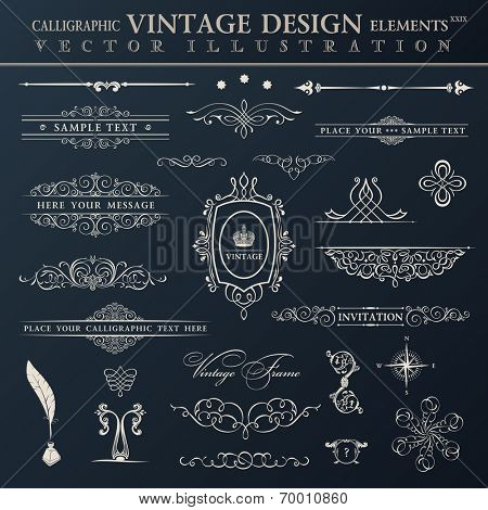 Vector vintage set. Calligraphic elements and page decoration premium quality collection design